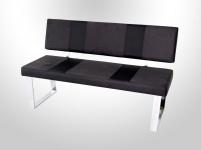 Sitzbank Polsterbank - RONY B - Grau- Schwarz 140x45 cm