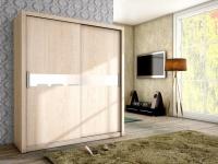 Schiebetürenschrank Schrank BRIT Sonoma matt + Weissglas 180x200 cm