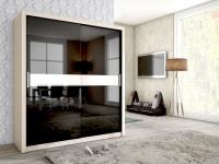 Schiebetürenschrank Schrank BRIT Esche/Schwarz HGL +Weissglas 180x200cm
