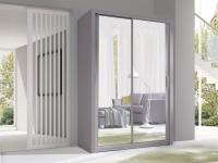 Schiebetürenschrank Schrank VISBY Grau matt + Spiegel 150x215 cm