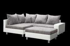 Couchgarnitur Allegra L-Form Weiss-Grau inkl.Hocker /Ausführung Links