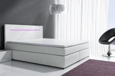Boxspringbett Schlafzimmerbett BOLOGNA Weiss inkl.LED 140x200 cm