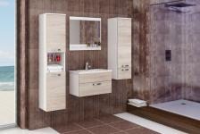 Badmöbel Set 4 tlg. Weiss/Sonoma Eiche matt -AILIN 1- ohne Waschtisch