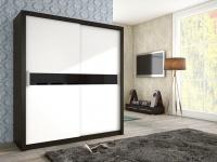 Schiebetürenschrank Schrank BRIT Wenge / Weiss + Schwarzglas 180x200cm