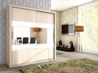Schiebetürenschrank Schrank EMIL Sonoma matt + Weissglas 180x200 cm