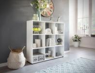 Bücherregal Regal Raumteiler NAOLO 108x29x104 cm Weiß 9 Fächer