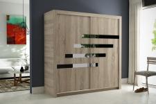 Schiebetürenschrank Kleiderschrank-Six 16-Sonoma/Schwarzglas 180x200cm