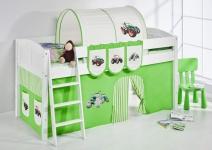 Spielbett Bett -LANDI -Trecker Grün -Teilbar -Kiefer Weiss-mit Vorhang