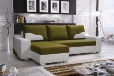Ecksofa Sofa COLLIN mit Schlaffunktion Weiss / Olivgrün Ottomane Links