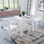 Tischgruppe BREMEN Kiefer massiv Weiß 1 Tisch 70x70 und 2 Stühle
