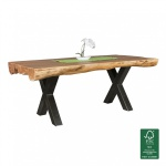 Esszimmertisch Tisch WOOD 200 x 100 cm Akazie Landhaus-Stil Voll-Holz