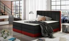 Boxspringbett Bett PRATO Webstoff Schwarz/ Rot 100x200cm