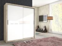 Schiebetürenschrank Schrank BRIT Sanremo / Weiss +Weissglas 180x200 cm