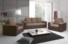 Sofa Set LEEDS 3-1-1 Sofagarnitur in Kunstleder-Webstoff Braun