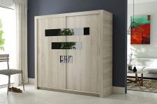 Schiebetürenschrank Kleiderschrank - Six -Esche/Schwarzglas 180x200 cm