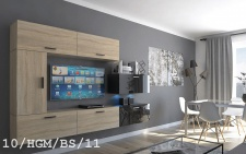 Mediawand Wohnwand 7 tlg - Bedox 3 -Sonoma matt- Schwarz HGL Nr.1 +LED