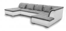 Couchgarnitur NICOLE mit Schlaffunktion Ottomane Links Grau/Weiß