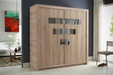 Schiebetürenschrank Kleiderschrank - Six - Sonoma / Spiegel 180x200cm