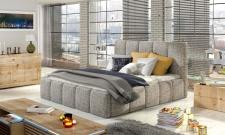 Polsterbett Bett Doppelbett VERONA Set 1 Webstoff Hellgrau 160x200cm