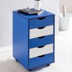 Rollcontainer Blau/ Weiss MARWIN 68x38 cm mit 5 Schubladen und Rollen