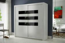 Schiebetürenschrank Kleiderschrank -Six 7- Weiss/Schwarzglas 180x200cm