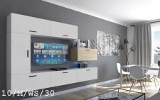 Mediawand Wohnwand 7 tlg - Bedox 3 -Weiss- Sonoma matt Nr.1 + inkl.LED