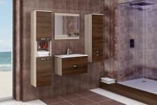 Badmöbel Set 4 tlg. Sonoma / Schoko matt -AILIN 1- ohne Waschtisch