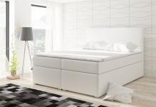 Boxspringbett Schlafzimmerbett CLAUDIA Kunstleder Weiss 100x200cm