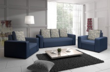 Sofa Set LEEDS 3-1-1 Sofagarnitur in Kunstleder-Webstoff Blau