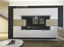 Mediawand Wohnwand 10 tlg - NEXI 1 - Weiss Hochglanz /Sonoma inkl.LED