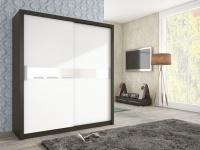 Schiebetürenschrank Schrank BRIT Wenge / Weiss + Weissglas 180x200cm