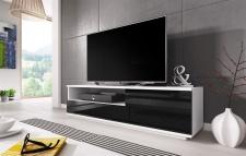 TV Board Lowboard ZUMA Weiss / Schwarz Hochglanz 138cm