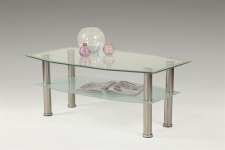 Couchtisch Tisch TIBOR 100x60 cm Milch - Chrom / ESG Glas