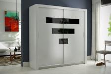 Schiebetürenschrank Kleiderschrank - Six -Weiss/Schwarzglas 180x200 cm