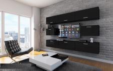 Mediawand Wohnwand 8 tlg - Bedox 1 - Schwarz matt