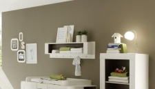Wandboard - SALY - Wandregal in Pinie Struktur Weiss 110 cm