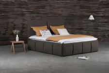 Polsterbett Doppelbett AGIS Stoff Braun 140x220cm