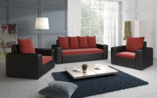 Sofa Set NINA 3-1-1 Sofagarnitur in Schwarz / Weinrot