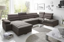 Couchgarnitur PASCARA U-Form mit Schlaffunktion-Braun /Ottomane Links