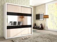 Schiebetürenschrank Schrank EMIL Weiss / Sonoma + Schwarzglas 180x200