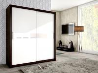 Schiebetürenschrank Schrank BRIT Braun / Weiss + Weissglas 180x200cm
