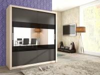 Schiebetürenschrank Schrank EMIL Sonoma /Graphit +Schwarzglas 180x200