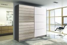 Schiebetürenschrank Schrank DANTOS Sonoma- Weiss matt 180x210 cm