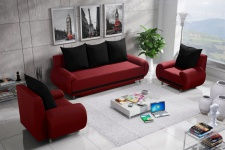 Sofa Set MIKA 3-1-1 Sofagarnitur in Polyesterstoff Rot / Schwarz