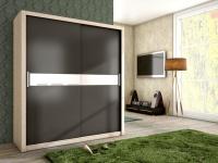 Schiebetürenschrank Schrank BRIT Sonoma /Graphit + Weissglas 180x200