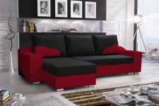Ecksofa Sofa COLLIN mit Schlaffunktion Rot / Schwarz Ottomane Links