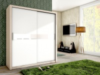 Schiebetürenschrank Schrank BRIT Sonoma / Weiss + Weissglas 180x200 cm