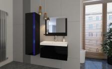 Badmöbel Set 4-Tlg Schwarz HGL SKYLINE XS inkl.80 cm Waschtisch + LED