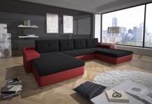 Couchgarnitur FLORENZ U-Form mit Schlaffunktion Rot / Schwarz