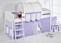 Spielbett Bett -LANDI - Lila Beige - Teilbar-Kiefer Weiss-mit Vorhang